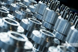 moltitude of ball valves in special materials in assembly stage